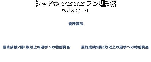 シャド場presentsアンリミ杯 優勝賞品 TV「シャド場」チャンピオンシップ大会への参加権利